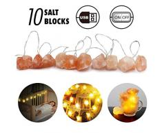 Himalaya-Salzlichterketten, USB-Lichterketten, rosa Salzkristalllampe Schlafzimmer und Hauptdekorationen Nachtlichterketten-Geschenk für Kinder, Eltern, Freunde (10 lights)