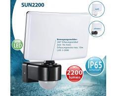 LED Fluter mit Bewegungsmelder Eckmontage möglicht Wand-leuchte Wandlampe Flurleuchte Fluter 30W schwarz modern IP65 SUN2200