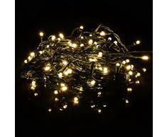 100er LED Lichterkette warm weiß mit Trafo + Timer grünes Kabel Weihnachtsbeleuchtung Weihnachtsdeko Partylichterkette Außenlichterkette Partydeko Weihnachten Terrasse Länge 20 m Außen Xmas
