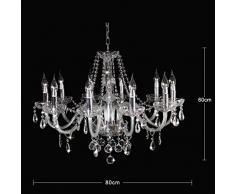 Dst Marie Therese Retro Klar Kristall & Glas 10 Zweig Pendelleuchte Kronleuchter Durchmesser 80cm Höhe 60cm Kette 60cm