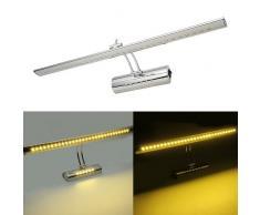 Hengda® 7W LED Spiegelleuchte/Spiegellampe Badleuchte Wandleuchte Bilderlampe (Warmweiß) AV85-220V Dual-Lichtquelle Mit Schalter 180 ° einstellbar Edelstahl 400mm [Energieklasse A++]
