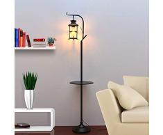 ZMLG Stehlampe Glas Metall, Vintage Wohnzimmer Stehleuchte Industrial Design Shabby Rustikal Stehlampe mit Fußtaster für Schlafzimmer Landhaus Treppenhaus,Schwarz