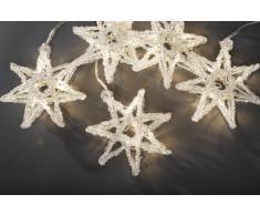 Konstsmide 4433-103 LED Lichtervorhang 5 Sterne / 30 warm weiße Dioden / 24V Innentrafo / transparentes Kabel