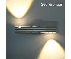 GBESTE Wandleuchten LED Wandlampe Flurlampe aus Aluminium Wandfluter 360° drehbar Wandbeleuchtung Wandlicht Wandstrahler 6W (warmweiß)