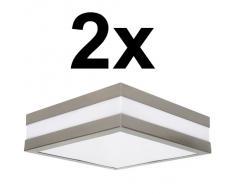 2er Set Wandleuchte Deckenleuchte SAVONA eckig / quadratisch IP44 LED E27 für bis zu 2x18 Watt; für Wohnraum, Bad, Flur, Wand, Decke; ohne Leuchtmittel
