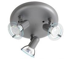 LED 9 Watt Deckenleuchte 3-flammig Wohnzimmer Deckenstrahler grau Spot beweglich rund