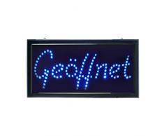 LED Display Schild GEÖFFNET - blau - Werbeschild Leuchtreklame Leuchtschild