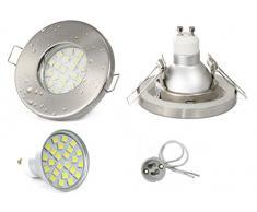 Set Einbaustrahler IP65 Optik: Edelstahl gebürstet Bad | Dusche | Sauna | inkl. GU10 5Watt LED Leuchtmittel 3000Kelvin (warm-weiß) 450Lumen (Leuchtmittel austauschbar) | Einbauleuchten Edelstahl lackiert rostfrei