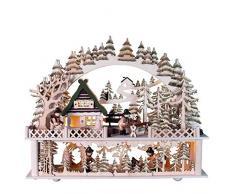 OBC Schwibbogen doppelt, LED Beleuchtung/Holzfäller Hütte mit Erhöhung Natur/Lichterbogen Erzgebirge Stil, handgefertigt/Deko zu Weihnachten