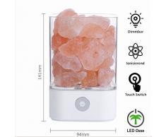LED Salzkristall Lampe weiß Himalaya Salz Lampe Dekorations Nachtlicht Nachttischlampe Salzsteinlampe Dimmbar und Farbwechsel mit Touch Bedienung
