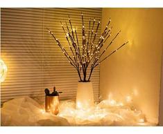 3PK Weihnachten dekorative Zweig Lichter Gartenpfahl Zweig Lichter mit 60 warmweißen LEDs Netzbetriebene beleuchtete Zweige für Weihnachten im Freien und Innenbereich