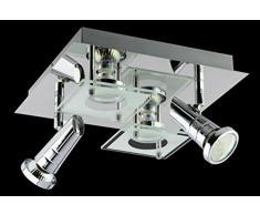 Trango® 4-flg. in Quadrat LED Design Bad Deckenleuchte Deckenlampe TG3089 inkl. 4x GU10 LED Leuchtmittel direkt 230V