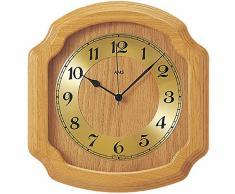 AMS Funk-Wanduhr in klassischer Optik: Küchenuhr oder für Wohnbereiche, analoge Zeitanzeige mit arabischen Ziffern, massives Holz-Gehäuse (Eiche)