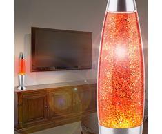 MIA Light Glitter ↥420mm/ Kinder/ Retro/ Orange/ Lampe Glitterlampe Glitterleuchte Lavalampe Lavaleuchte Magmalampe Magmaleuchte