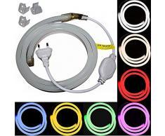 1-5m LED Neon Flex Lichtschlauch - 230V bei 8W/m - Wasserfest - Streifen Band - warmweiß weiß rot - 10,49€/m Licht (gelb, 2m)