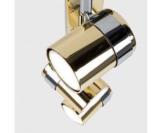 MiniSun - Moderner, schöner und 3-flammiger Deckenstrahler mit einem glänzigen und goldfarbigen Finish und mit 3 verstellbaren Spots - Schienensystem