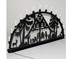 Schwibbogen Lichterbogen Metall - Motiv: Waldhaus - XXL 1,5 Meter Breite Außen-Bereich schwarz glänzend * riesen groß * Erzgebirge Weihnachten Kinder