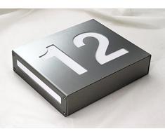 Thorwa® moderne beleuchtete Design Edelstahl Hausnummer Hausnummernleuchte | LED Hausnummernschild mit individuellem Schriftzug | Edelstahl gebürstet