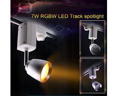 RGB+WW LED Lampe 7 Watt original LIGHTEU®,WLAN (WIFI), dimmbar,RGB Farbwechsel,3 phasen strahler für Schienensystem Schienen Strahler Schienen Leuchte/mit Extra Fernbedienung