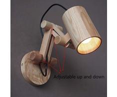 Innen Wandleuchte Hölzern Moderne Wandlampe E27 Blendfreies Einstellbar Holz Lampenschirm Licht für Haus Wände Gangbeleuchtung Flur Schlafzimmer Bedside Wohnbereiche
