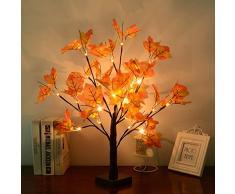WZOED LED Baum Licht, 50cm 24 LEDs Lichterbaum Batteriebetriebenes Schreibtisch Ahornblatt (Herbst) Baumlicht Warmweiß, Perfekt für Erntedankfest,Wohnzimmer, Schlafzimmer, Hochzeit, Weihnacht
