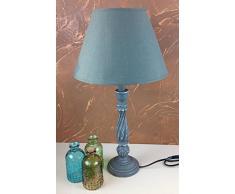 Charmanter Landhaus Tischlampe Tischleuchte 54 cm Hohe 66 - 6 Holz Nachttischlampen Schreibtischleuchte Schreibtischlampe Büroleuchte Lampe Antik Retro Leuchten Stehleuchte