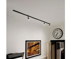 SLV 1-Phasen Schienensystem 2 Meter Starter-Set mit 3 Spots, schwarz | Aufbauschiene für Wohnzimmer, Esszimmer, Schlafzimmer, Küche, Flur | 230V, 3 x GU10 Leuchtmittel inkl, 2 x 1 Meter Schiene