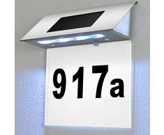 Edelstahl Solarhausnummer mit 4 starken LEDs - Solarleuchte Hausnummernleuchte