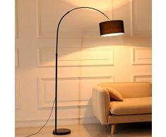 ZH-VBC Stehlampen Landhausstil, Bogenstandleuchte, Höhenverstellbar Marmorfuß und Sackleinen Stoffschirm, Stehlampe, Stehleuchte, für Wohnzimmer Lesen Schlafzimmer Home Office