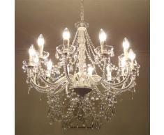 Grafelstein Großer 12-armiger Kronleuchter mit Kristallen H 70 cm, weiß, 20267309110