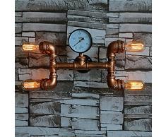 Vintage Industriell Retro 4 Glühbirnen Rustikal Waterpipe Wandlampe Stehleuchte Garage Zubehör Direkt Beleuchtung Lampe Wandleuchte kreativ Eisen E27 Innen Dekorativ für Balkon Flurlampe Bar
