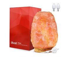 Levoit Kana Salz Lampe Salzlampe Salzkristalllampe Salzleuchte Nachtlicht mit Dimmschalter 2-3kg, Holzsockel weiße Kabel, 3 zusätzliche Glühbirnen (15 Watt)