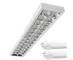 LED Rasterleuchten mit 2X T8 LED 120cm 18W warmweiß 3000K G13 Bürolampe