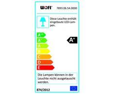 WOFI Pendelleuchte, 6-flammig Hook 6 x LED / 6 W 2, 9-3, 6 Volt, 12 x 150 x 130 x Abhängung 150 cm, 3000 k, 450 lm, Energieeffizenzklasse A+ höhenverstellbar dimmbar mittels geeignetem Wanddimmer, nickel matt / chrom 7893.06.54.0000
