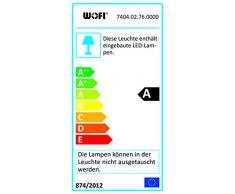 WOFI Pendelleuchte, 2-flammig Banks 2 x LED/12 W, 7, 5 x 150 x 120 cm, 3000 k, 900 lm, Energieeffizenzklasse A mittels Zentralgelenk verstellbar, nickelfarbig eloxiert 7404.02.76.0000