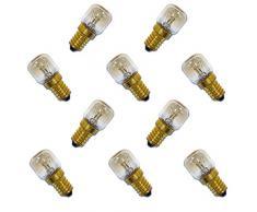 10 x Backofenlampe 300° 25W E14 klar Glühbirne Glühlampe Nähmaschine Salzstein Salzlampe PYGMY T26 Röhre warmweiß dimmbar 25 Watt