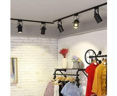 LED Deckenstrahler Schienensystem Deckenleuchte E27 3 Flammige 3 * 5W Leuchtmittel Modern Schwarz Metall Schienen-Leuchte Drehbar Und Schwenkbare Decken-Spots Warmweiss Licht
