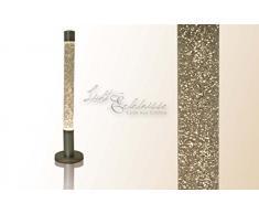 Dekorative 76 cm hohe Glitterleuchte Lavalampe Stehleuchte in silber / klar Retro Lavaleuchte