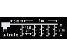 Kaemingk LED-Vorhang 2 x 2 m, aussen, Aussentrafo, 64 warmweiße LED, schwarzes Kabel 494289
