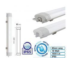 18W LED 60cm Feuchtraumleuchte Neutralweiß IP65 Wannenleuchte Proline Leuchte für Außen und Innen Wasserdicht Slim