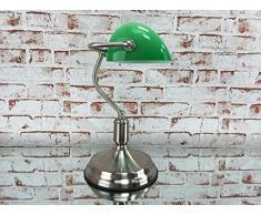Bankerlampe Schreibtischlampe Bankers Lamp Tischleuchte Antik grün / silber matt gebürstet