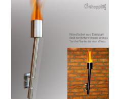 Wandfackel aus Edelstahl - Betrieb nach Wahl mit Brenngel oder Bio-Ethanol