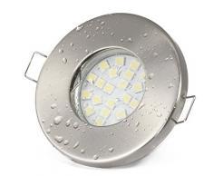6er KW Set Einbaustrahler IP65 Optik: Edelstahl gebürstet Bad | Dusche | Sauna | inkl. GU10 5Watt LED Leuchtmittel 6000Kelvin (kaltweiss) 450Lumen (Leuchtmittel austauschbar) | Einbauleuchten Edelstahl lackiert rostfrei