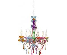 Hängeleuchte Starlight Rainbow 6-Arm, moderner, bunter Kronleuchter, kleine Pendelleuchte mit Fassungen im Kerzendesign, Lüster (H/B/T) 70x55x55cm