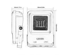 LEDGLE 15W LED-Flutlicht, Flutlicht im Freien, LED-Wandfluter, 1050 Lumen gleich 100W Halogenlampen, IP66 Wasserdicht- 3000K