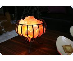 Salzlampe Feuerkorb mit Metallkorb und ca. 3kg Kristallsalz aus Pakistan Brocken