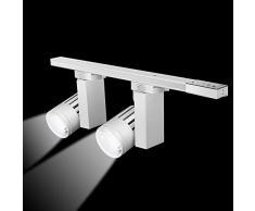 12W Schienensystem Licht /2 dreh schwenkbare LED-Spot-Lights 360° verstellbarer Deckenstrahler 16in 1200 Lumen mit 6000K Schienengleiten leichte Installation 2 LED Lichtquelle enthalten (Weiß, 6000K)