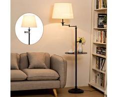 ZH-VBC Stehlampen Landhausstil, Rustikal Klassische Stehleuchte mit Tisch, Vintage Stehende Leselampe, Sackleinen Lampenschirm (drehbar), für Wohnzimmer Lesen Schlafzimmer Home Office