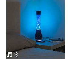 Eurroweb Lavalampe aus Glas, blaues LED-Licht, mit Bluetooth-Lautsprecher und Mikrofon – Magma-Lampe