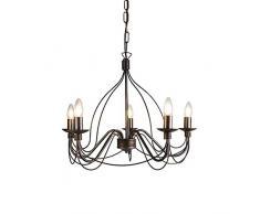 QAZQA Klassisch/Antik/Landhaus/Vintage/Rustikal Klassischer Kronleuchter/Chandelier braun - Zero Branco 5-flammig/Innenbeleuchtung/Wohnzimmerlampe/Schlafzimmer/Küche Metall Rund LED g